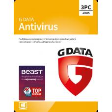 Oprogramowanie antywirusowe G Data Antivirus - 3 urządzenia / 1 rok