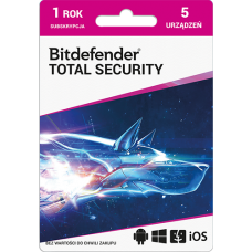 Oprogramowanie antywirusowe Bitdefender Total Security - 5 urządzeń / 1 rok