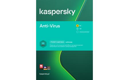 Oprogramowanie antywirusowe Kaspersky Anti-Virus - 2 urządzenia / 1 rok