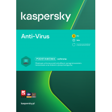 Oprogramowanie antywirusowe Kaspersky Anti-Virus - 3 urządzenia / 2 lata