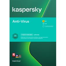 Oprogramowanie antywirusowe Kaspersky Anti-Virus - 3 urządzenia / 1 rok