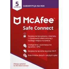 Oprogramowanie McAfee Safe Connect - 5 urządzeń / 1 rok