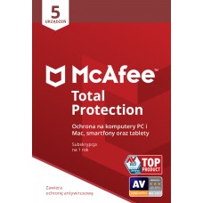 Oprogramowanie antywirusowe McAfee® Total Protection 5 urządzeń / 1 rok