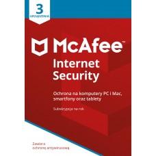 Oprogramowanie antywirusowe McAfee® Internet Security 3 urządzenia / 1 rok