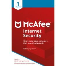 Oprogramowanie antywirusowe McAfee® Internet Security 1 urządzenie / 1 rok